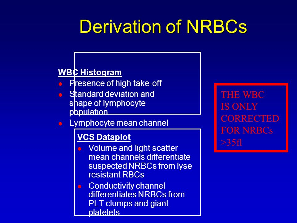 Derivation of NRBCs THE WBC IS ONLY CORRECTED FOR NRBCs >35fl