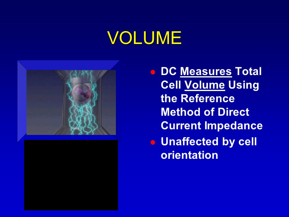 VOLUME DC Measures Total Cell Volume Using the Reference Method of Direct Current Impedance.