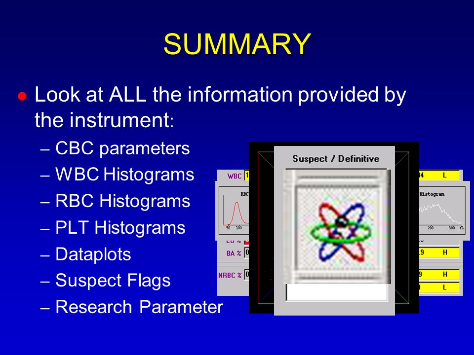 SUMMARY Look at ALL the information provided by the instrument: