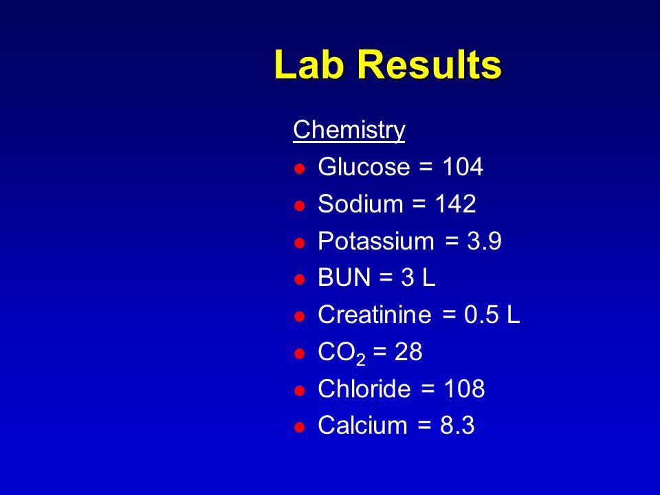 Lab Results Chemistry Glucose = 104 Sodium = 142 Potassium = 3.9