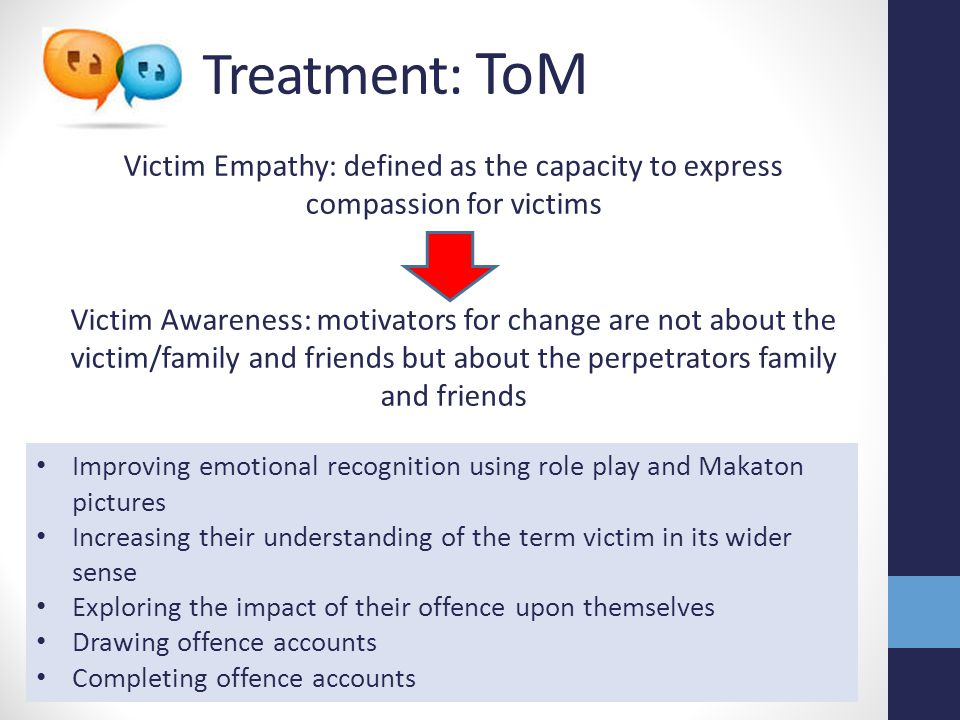Treatment: ToM Victim Empathy: defined as the capacity to express compassion for victims.