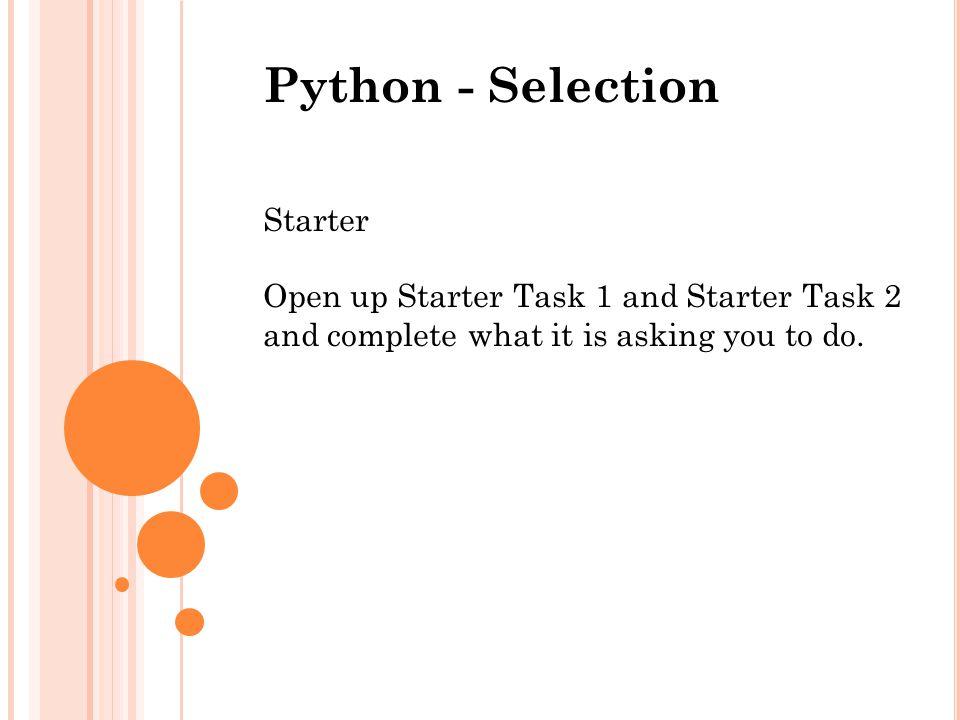 Python - Selection Starter
