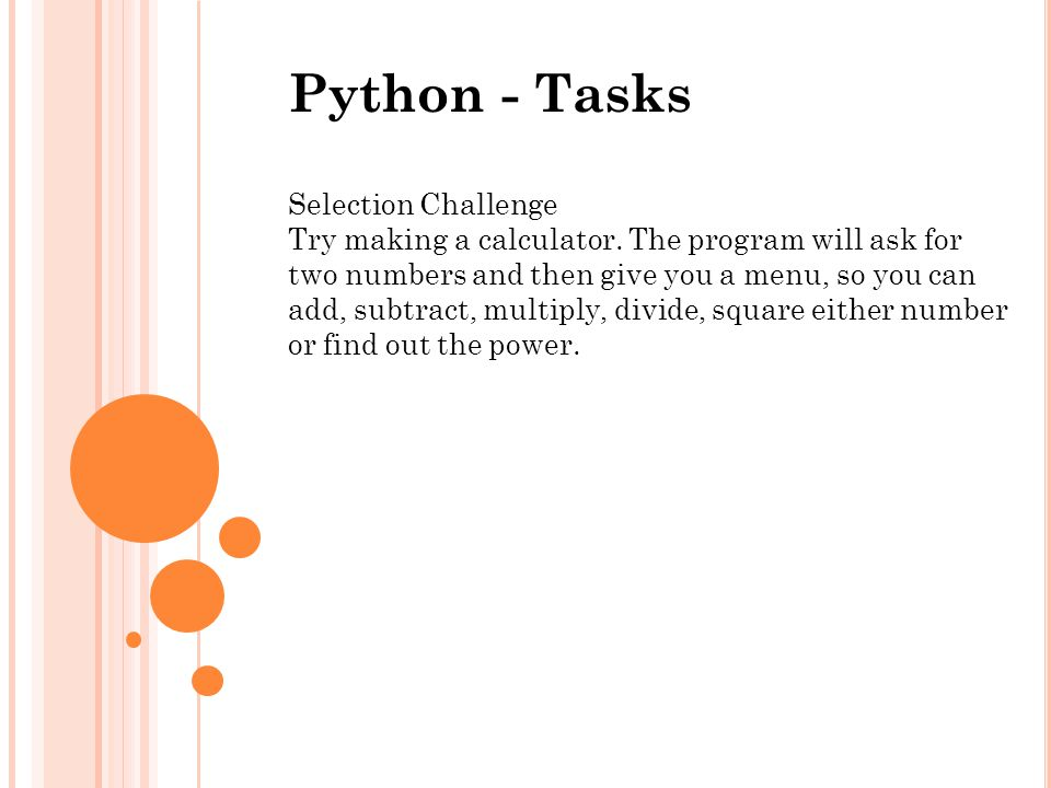 Python - Tasks Selection Challenge
