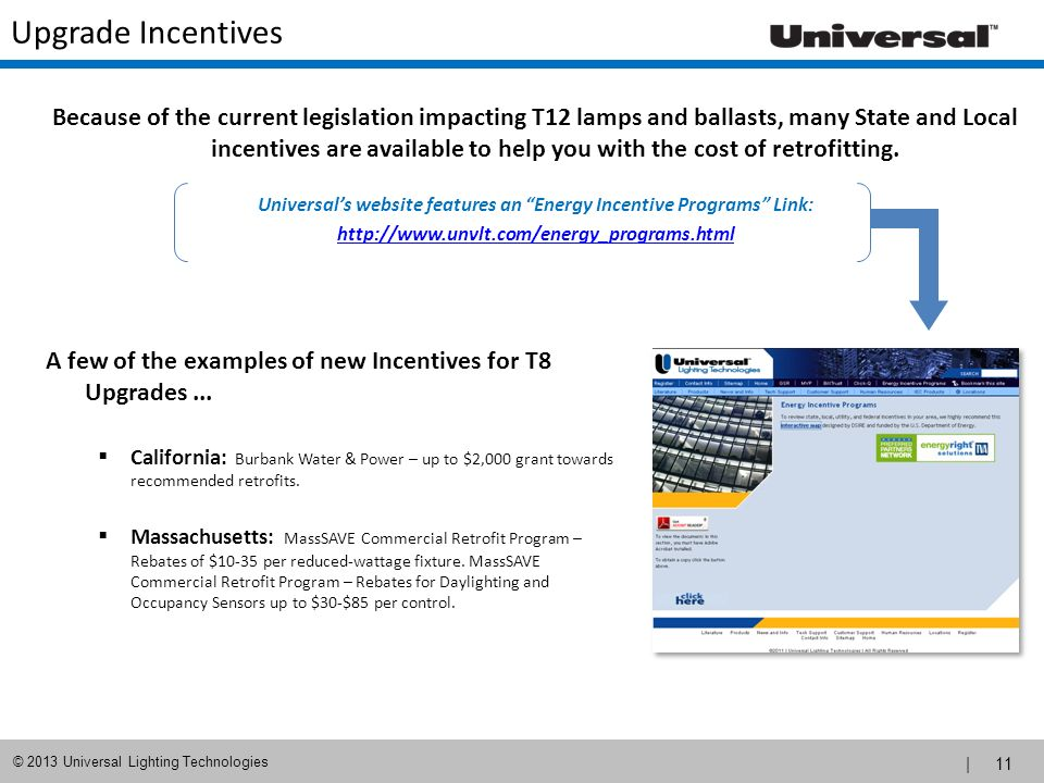 Universal's website features an Energy Incentive Programs Link: