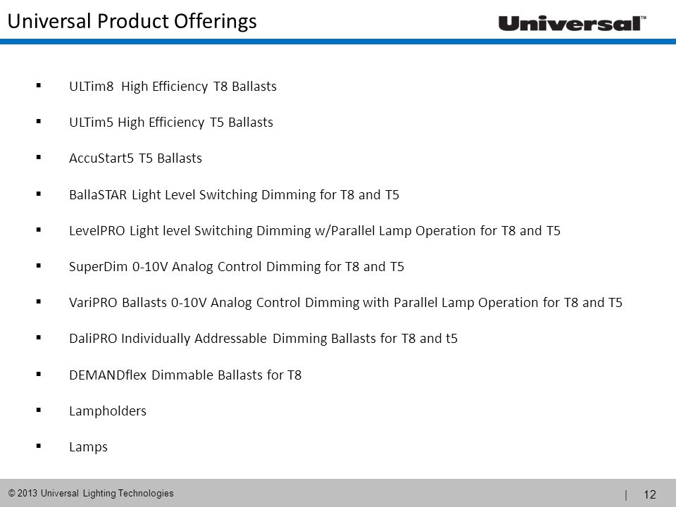 Universal Product Offerings