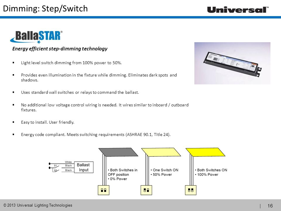 Dimming: Step/Switch Energy efficient step-dimming technology