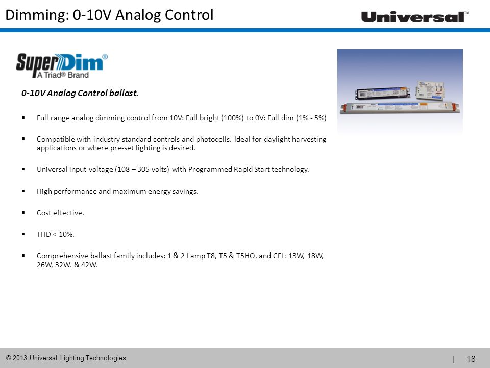 Dimming: 0-10V Analog Control