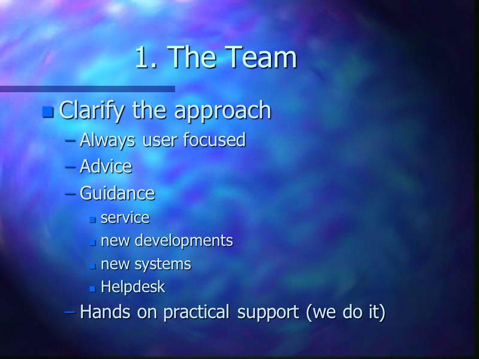 1. The Team Clarify the approach Always user focused Advice Guidance