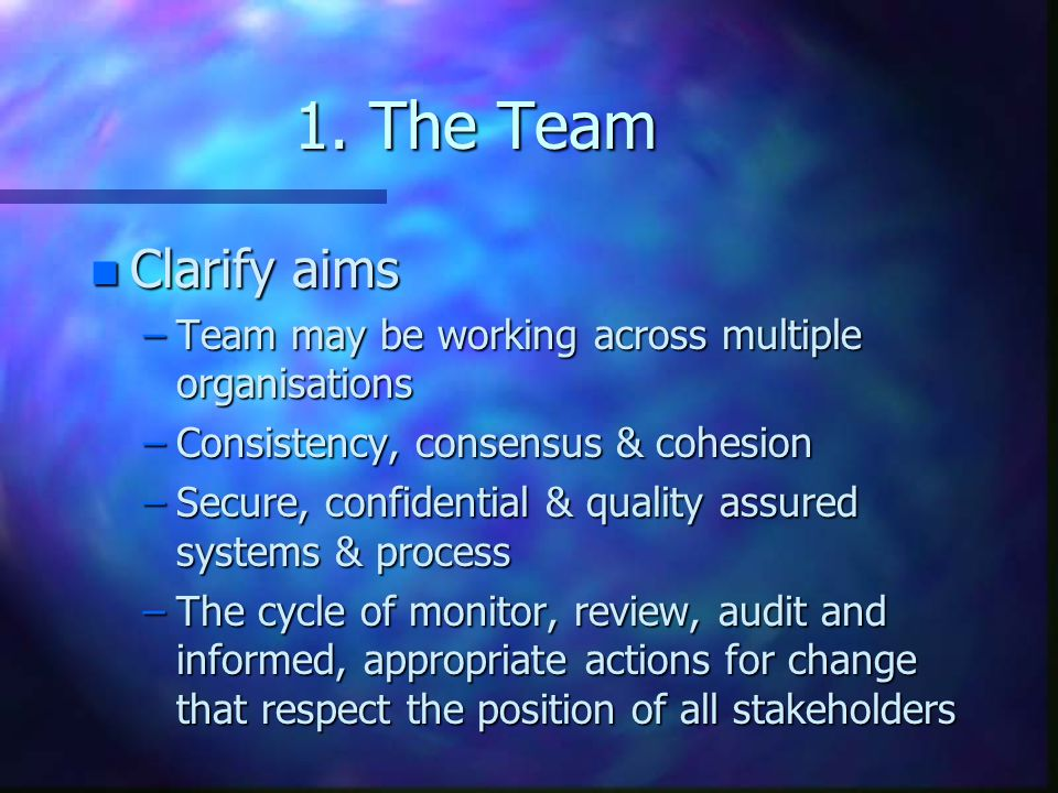 1. The Team Clarify aims. Team may be working across multiple organisations. Consistency, consensus & cohesion.