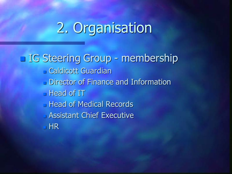 2. Organisation IG Steering Group - membership Caldicott Guardian