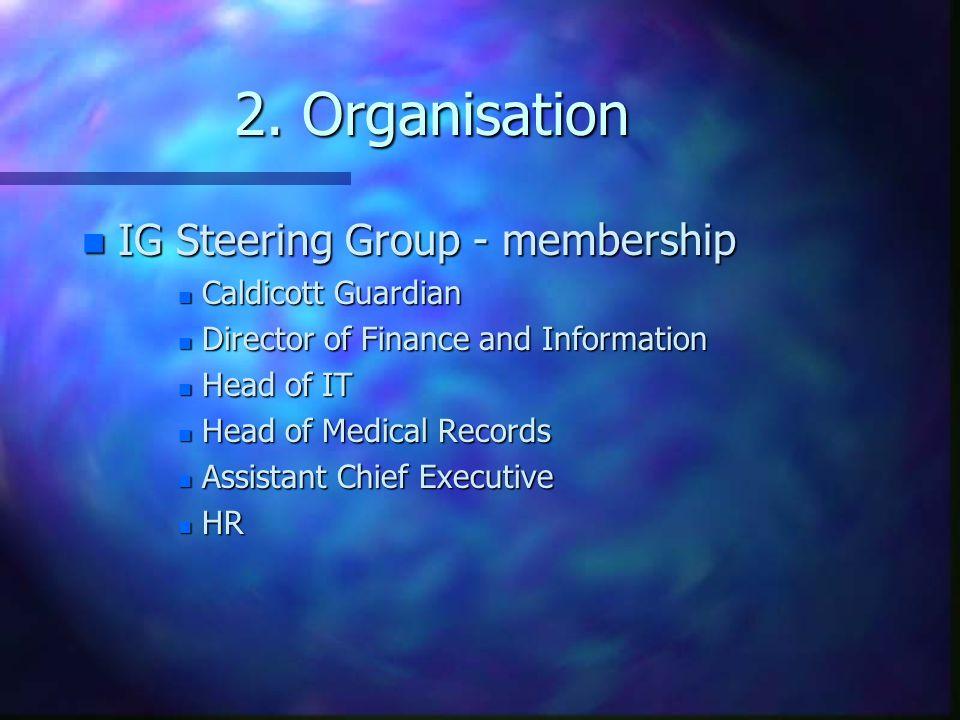 2. Organisation IG Steering Group - membership Caldicott Guardian
