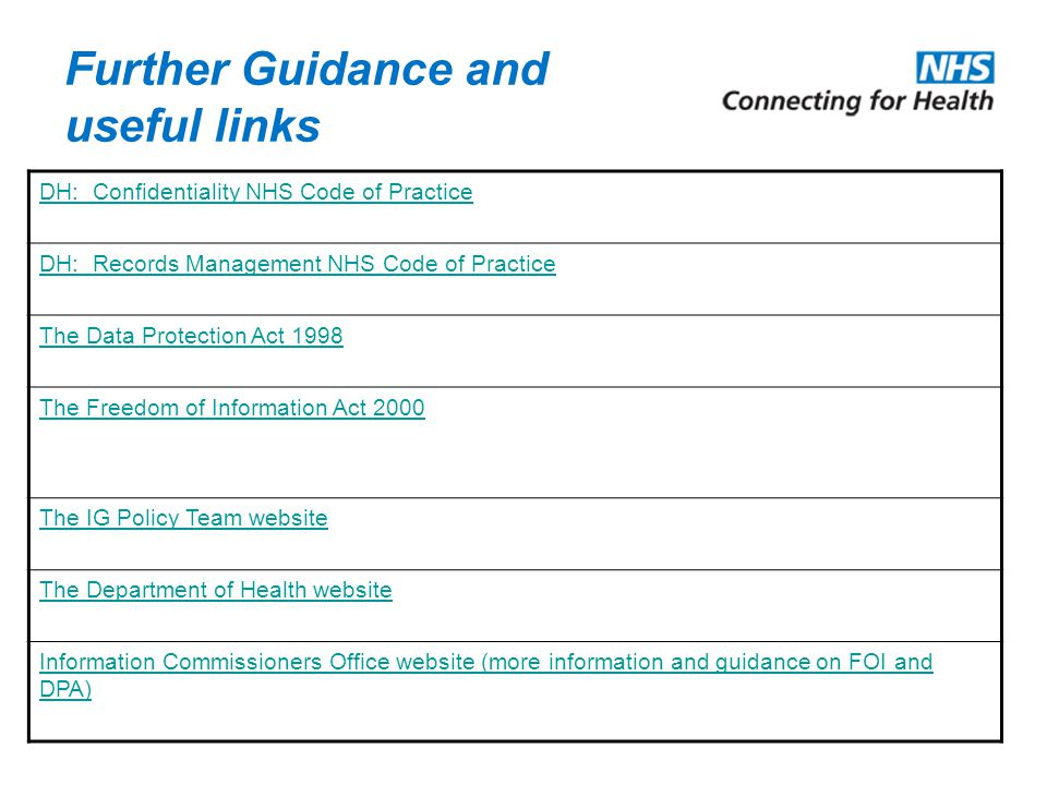 Further Guidance and useful links