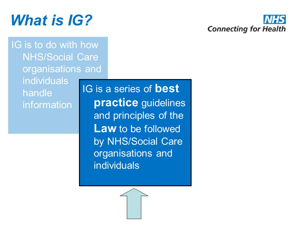 What is IG IG is to do with how NHS/Social Care organisations and individuals handle information.