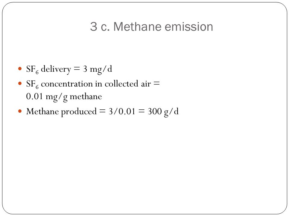 3 c. Methane emission SF6 delivery = 3 mg/d