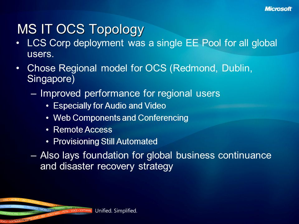 MS IT OCS TopologyLCS Corp deployment was a single EE Pool for all global users. Chose Regional model for OCS (Redmond, Dublin, Singapore)