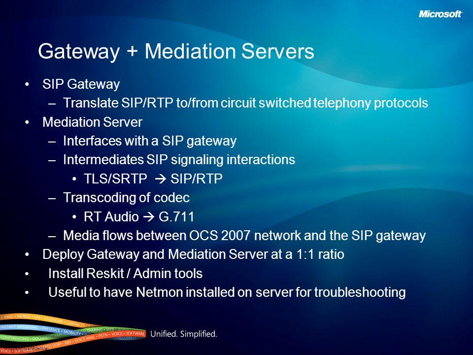 Gateway + Mediation Servers
