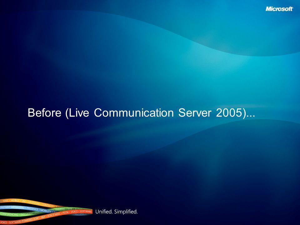 Before (Live Communication Server 2005)...
