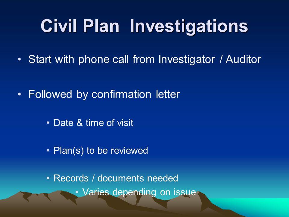 Civil Plan Investigations