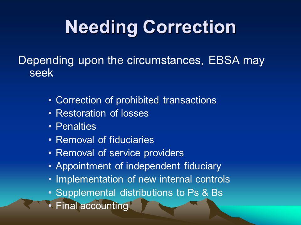 Needing Correction Depending upon the circumstances, EBSA may seek