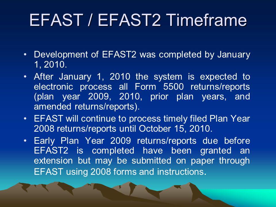 EFAST / EFAST2 Timeframe