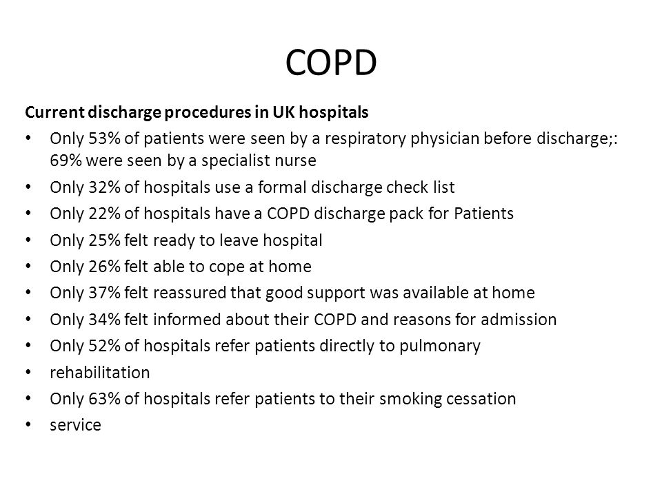 COPD Current discharge procedures in UK hospitals
