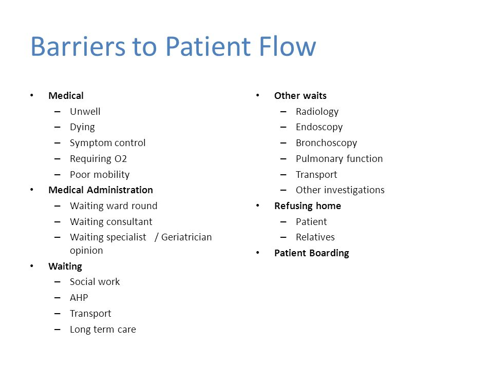 Barriers to Patient Flow