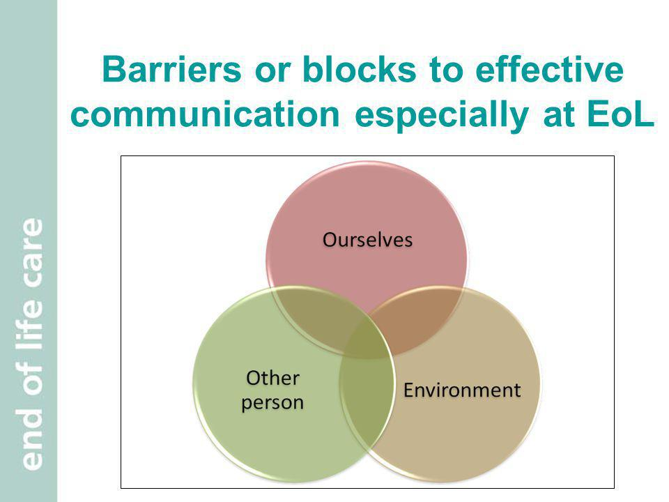 Barriers or blocks to effective communication especially at EoL