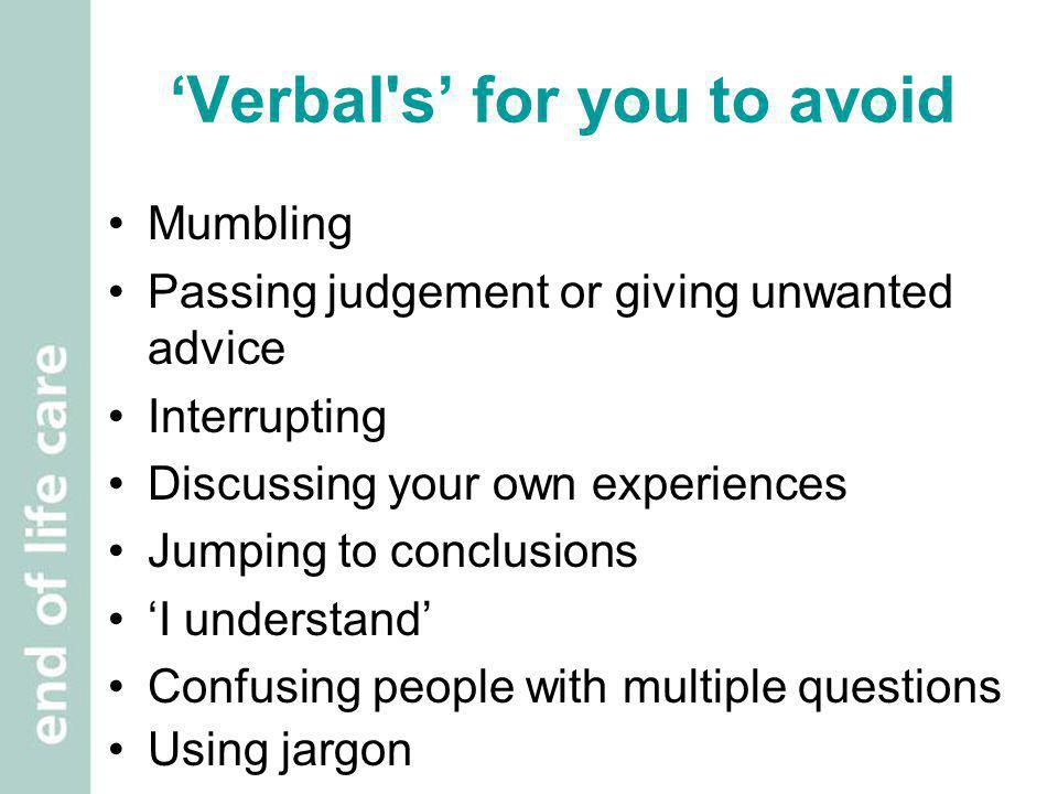 'Verbal s' for you to avoid