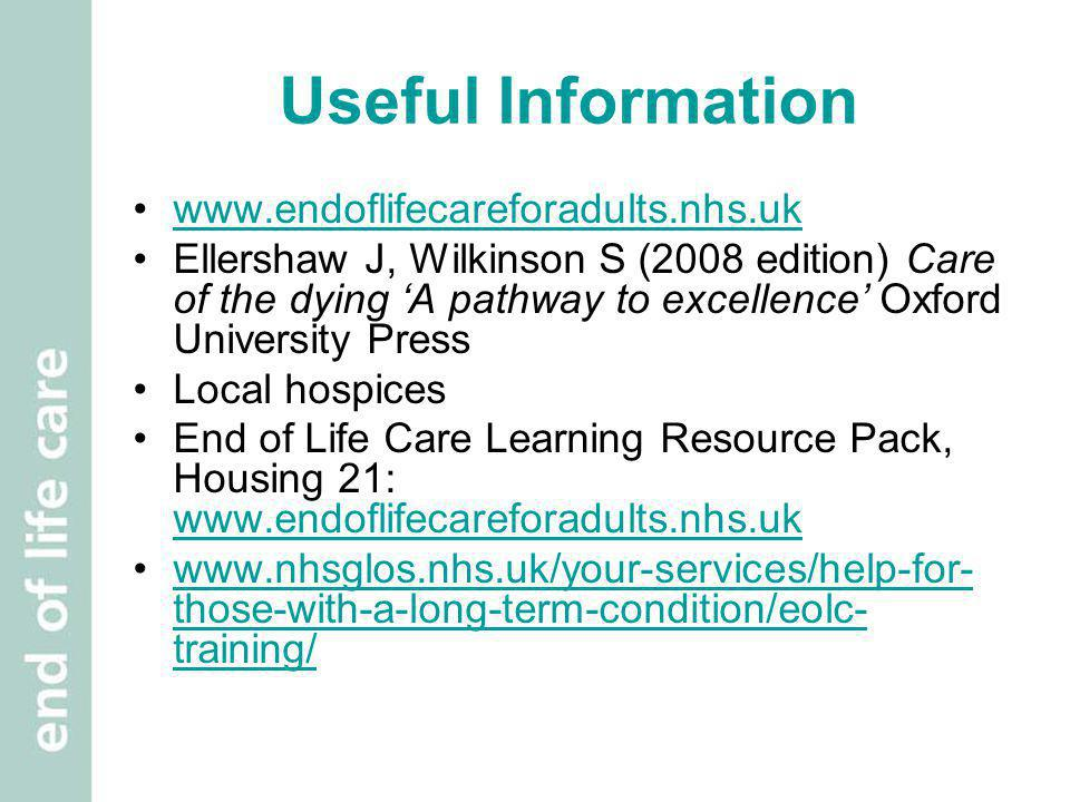 Useful Information www.endoflifecareforadults.nhs.uk