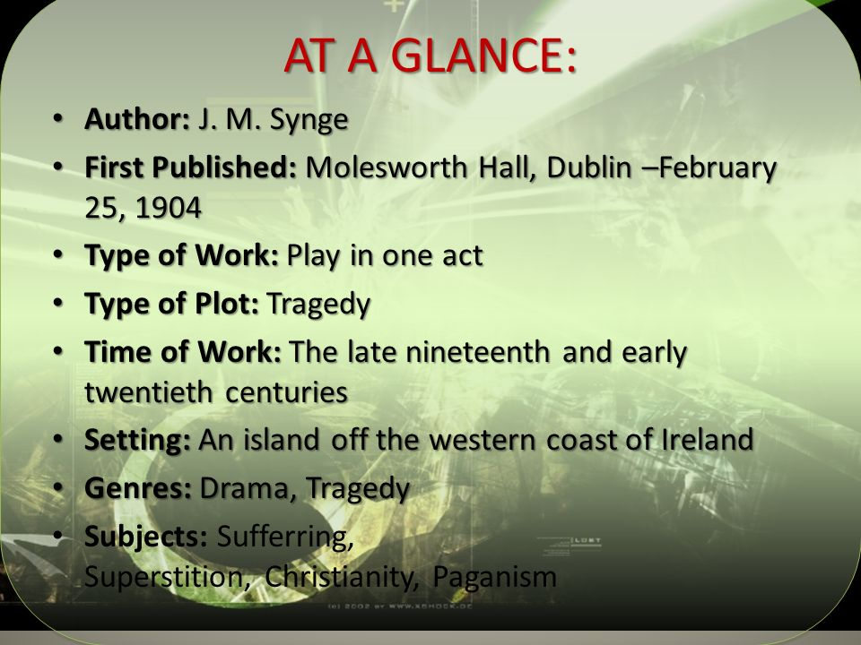 AT A GLANCE: Author: J. M. Synge