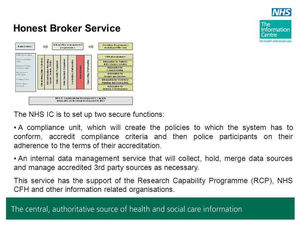 Honest Broker Service The NHS IC is to set up two secure functions: