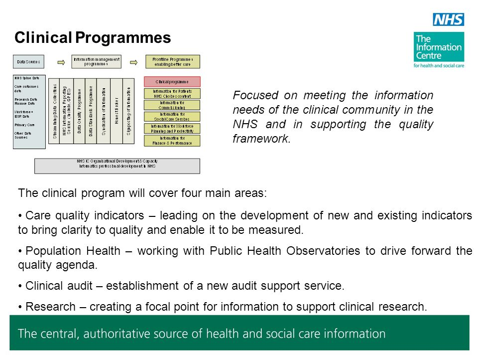 Clinical Programmes Focused on meeting the information needs of the clinical community in the NHS and in supporting the quality framework.
