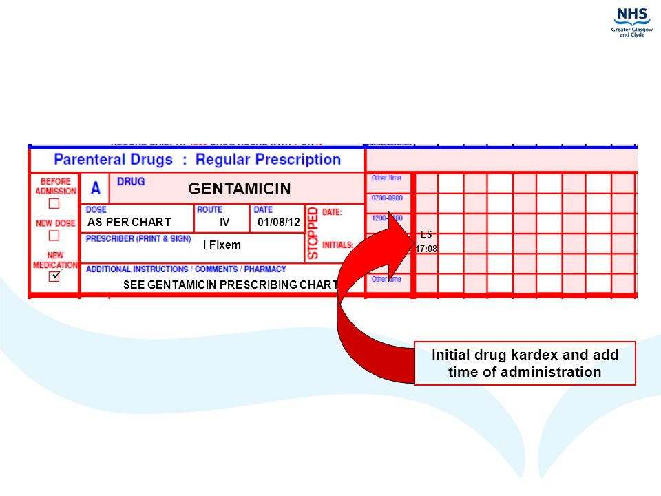 GENTAMICIN  Initial drug kardex and add time of administration