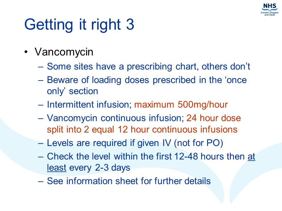 Getting it right 3 Vancomycin