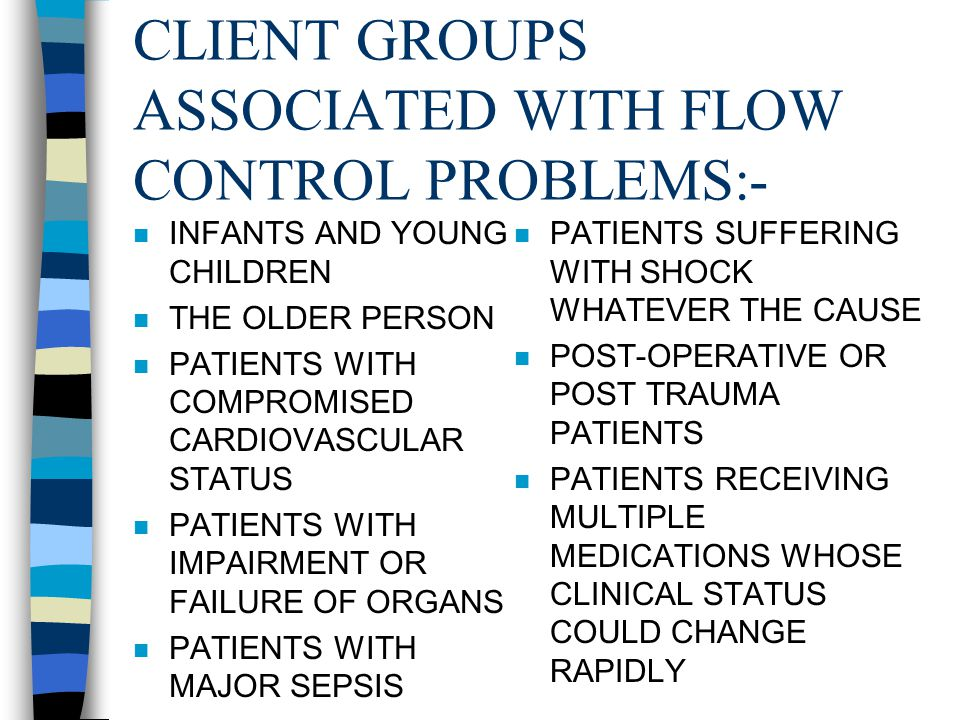 CLIENT GROUPS ASSOCIATED WITH FLOW CONTROL PROBLEMS:-
