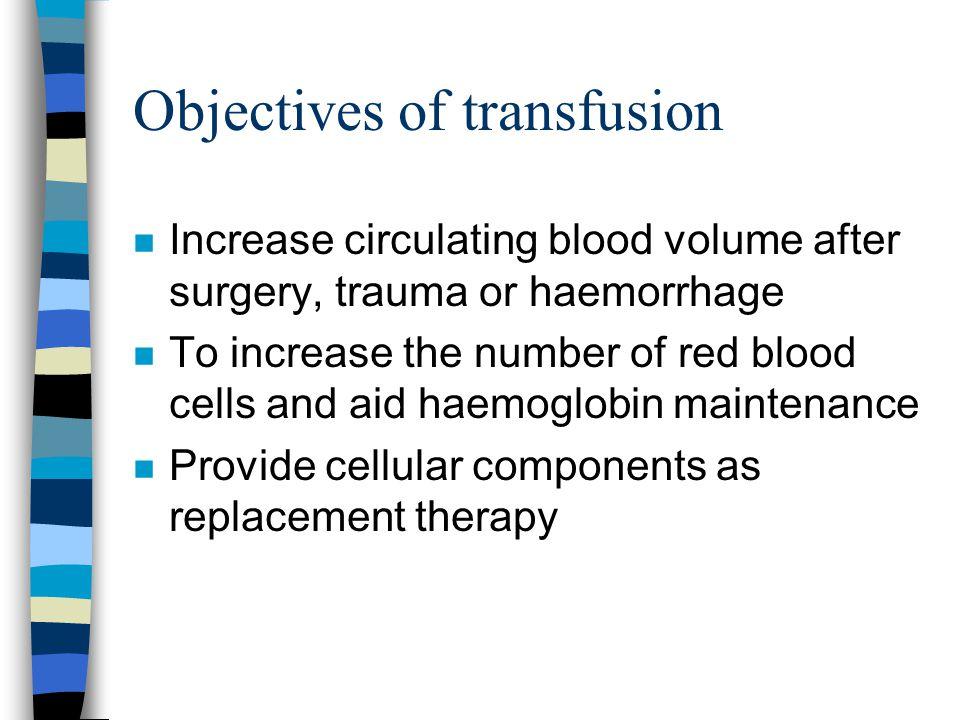 Objectives of transfusion