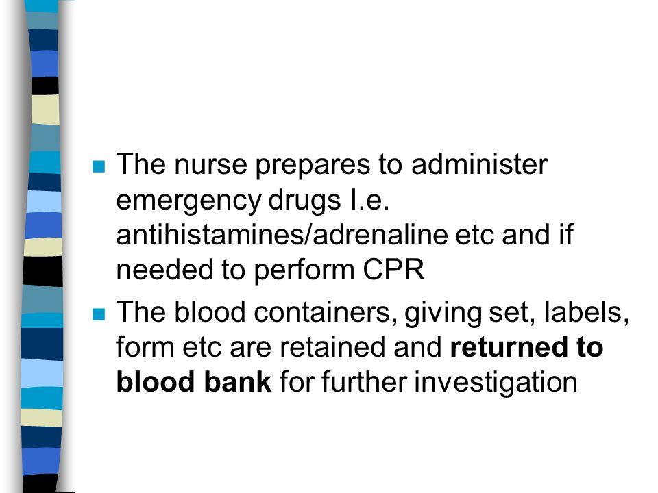The nurse prepares to administer emergency drugs I. e