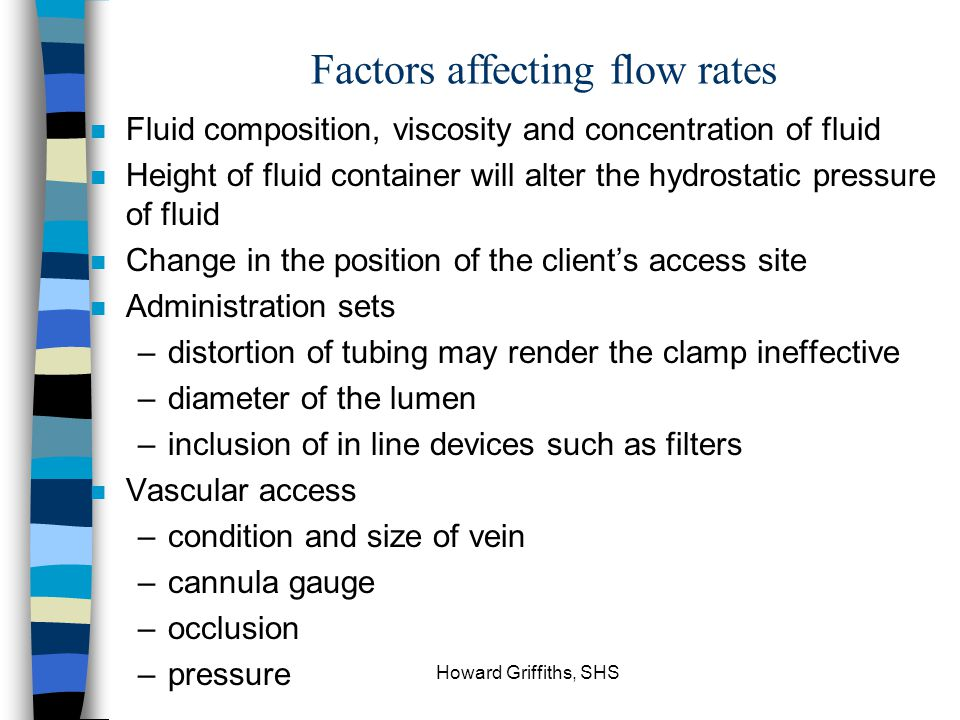 Factors affecting flow rates