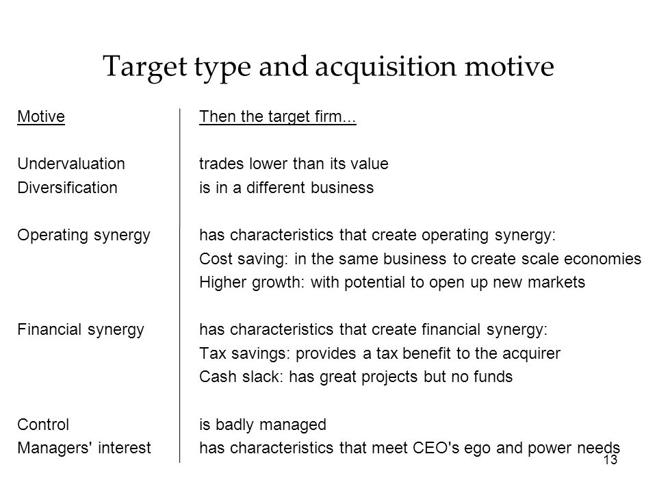 Target type and acquisition motive