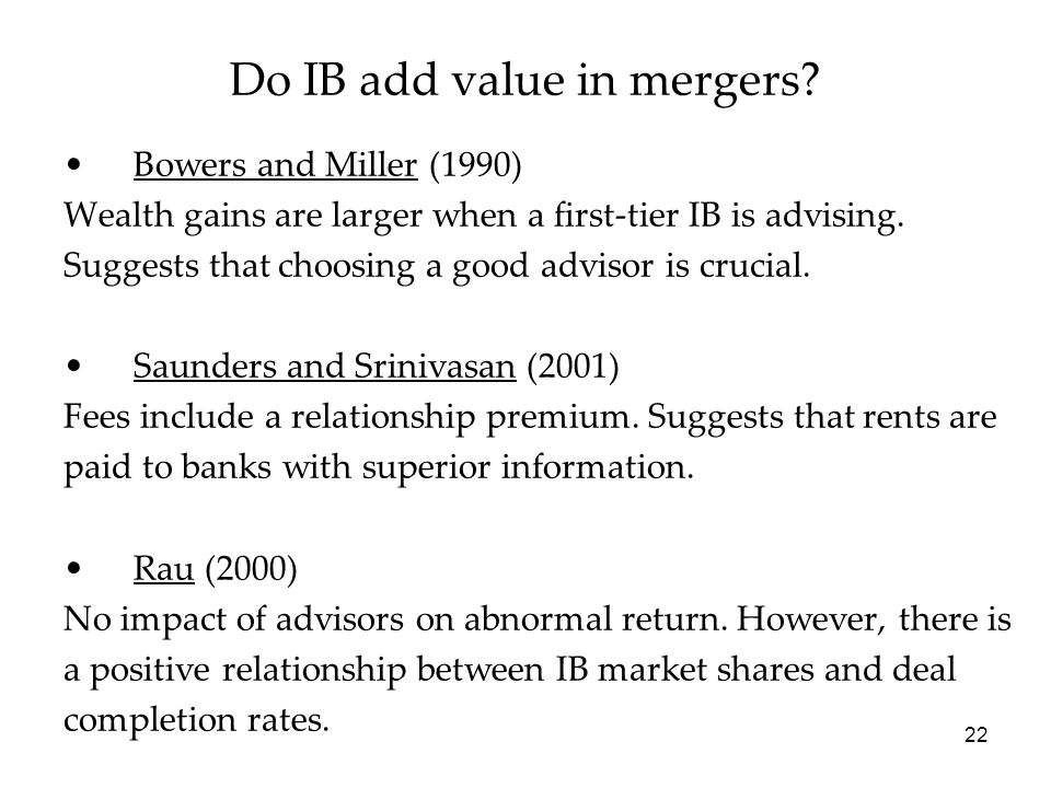 Do IB add value in mergers