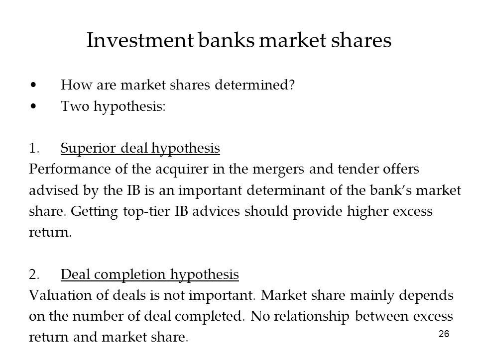 Investment banks market shares
