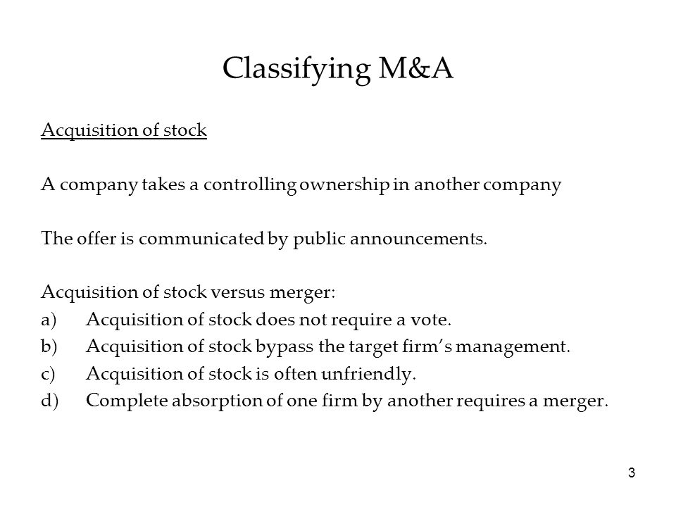 Classifying M&A Acquisition of stock