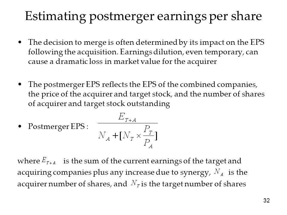 Estimating postmerger earnings per share