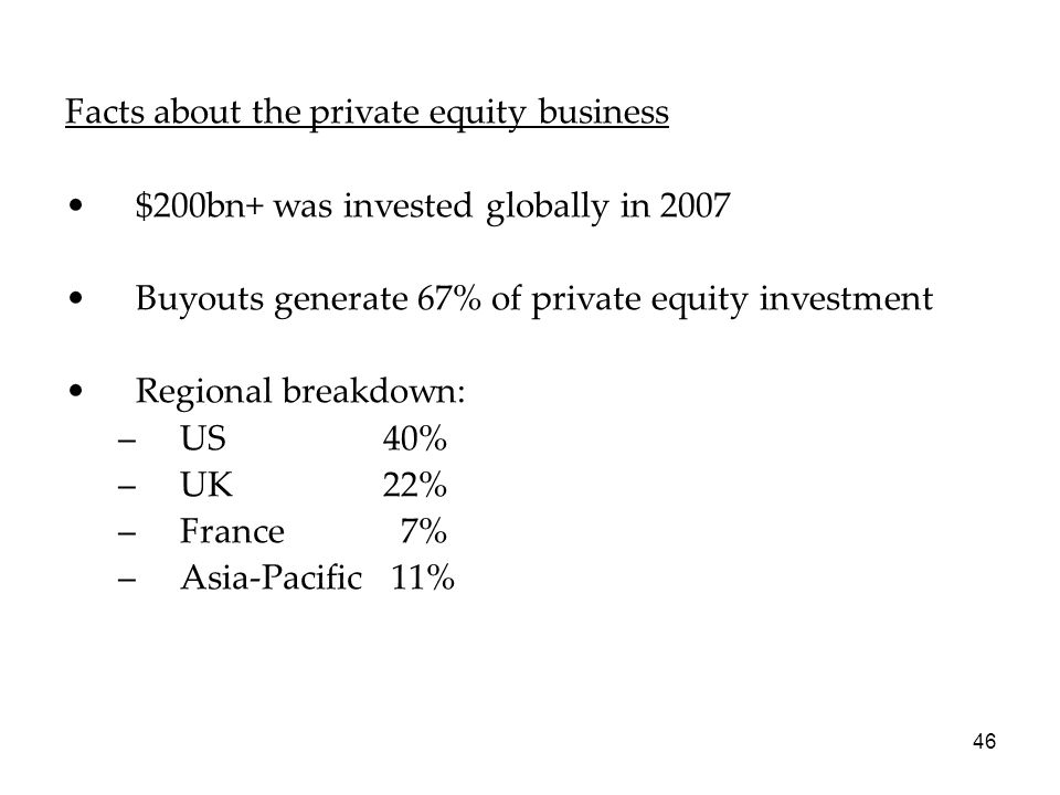 Facts about the private equity business
