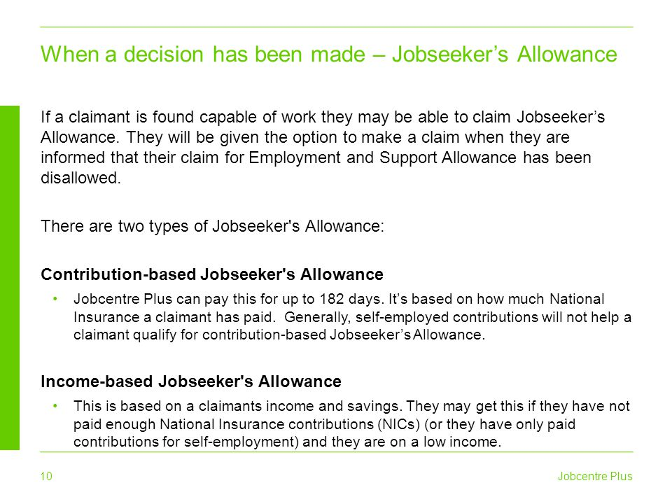 When a decision has been made – Jobseeker's Allowance