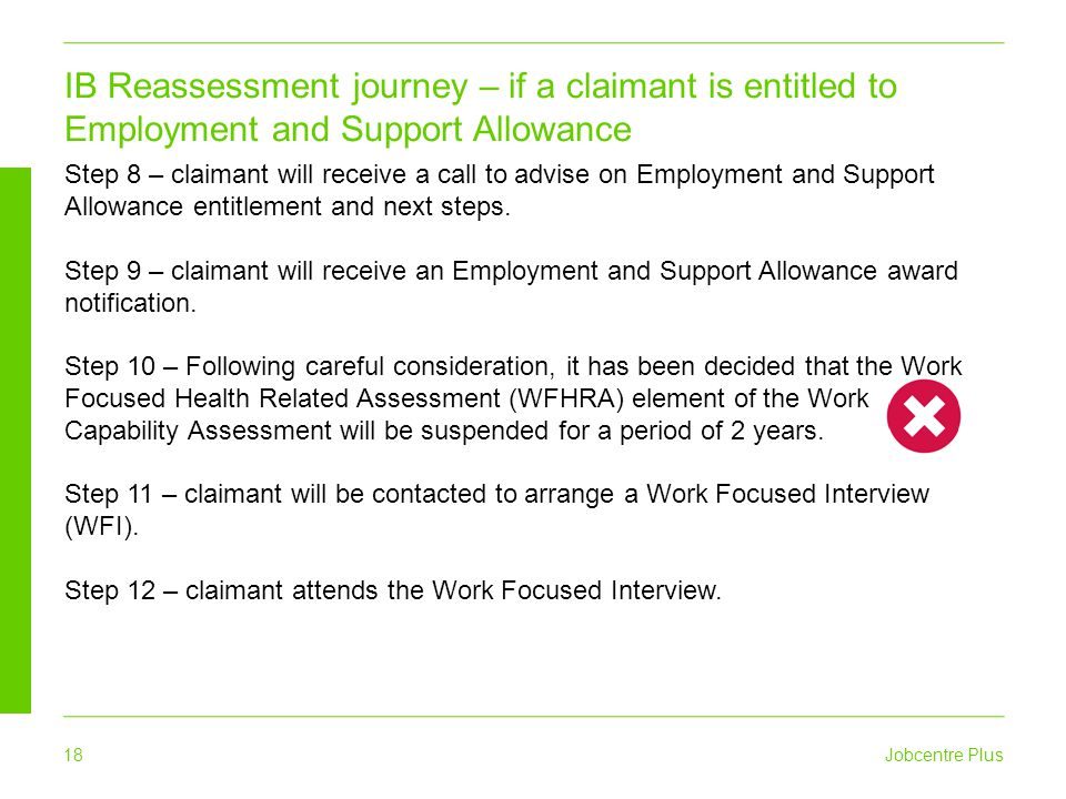IB Reassessment journey – if a claimant is entitled to Employment and Support Allowance