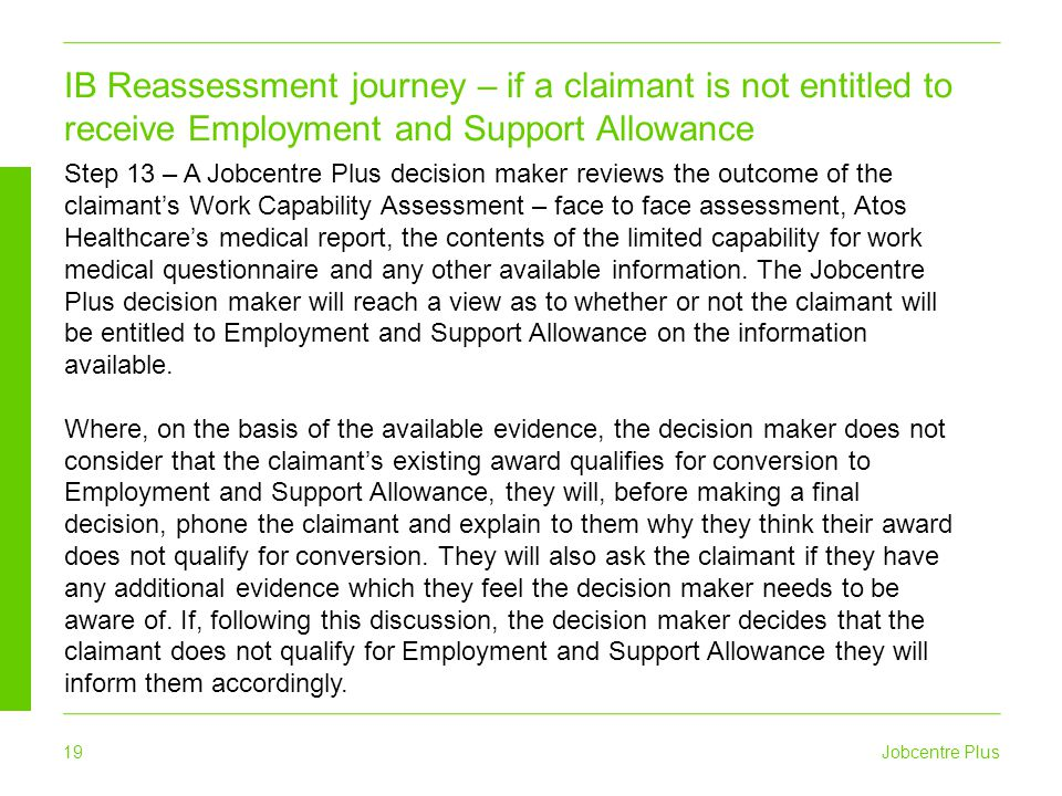 IB Reassessment journey – if a claimant is not entitled to receive Employment and Support Allowance