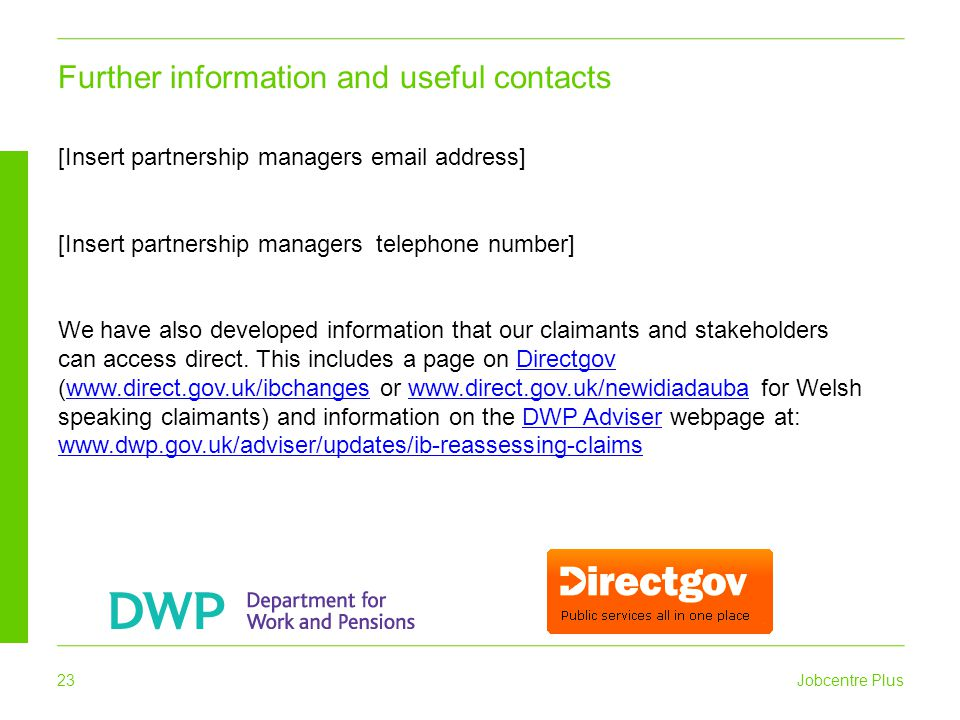 Further information and useful contacts