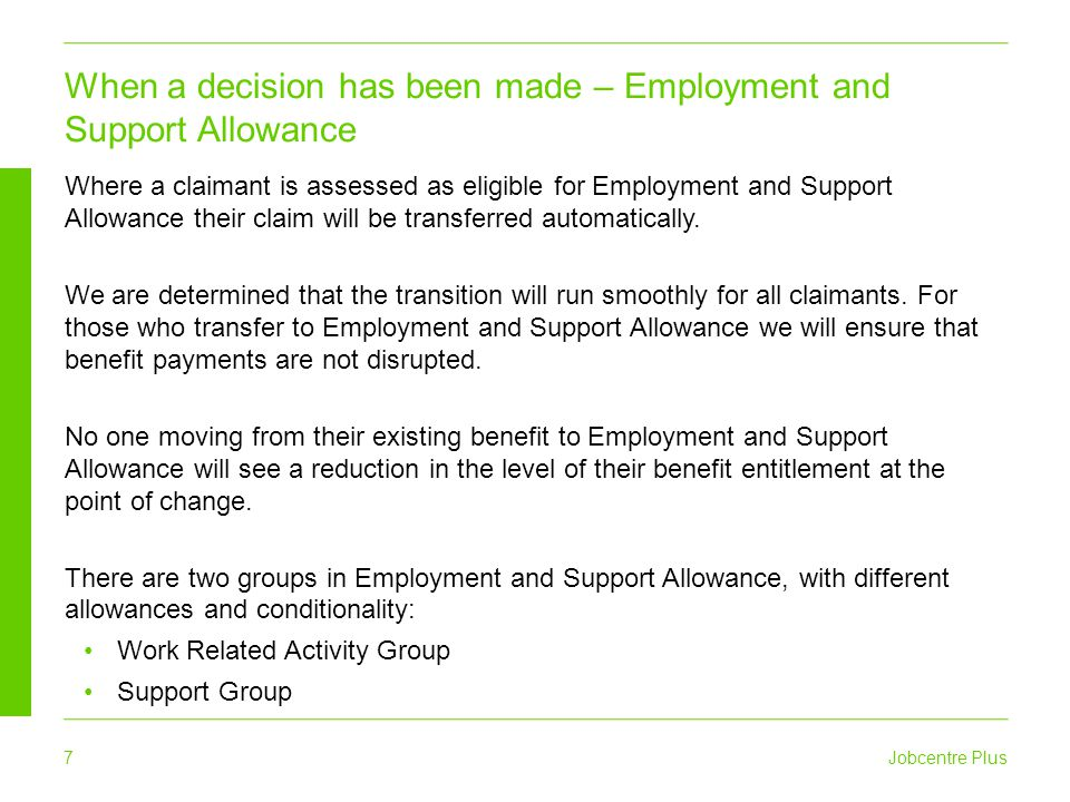 When a decision has been made – Employment and Support Allowance
