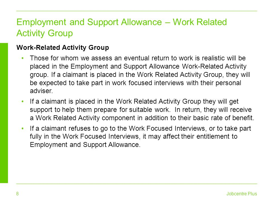 Employment and Support Allowance – Work Related Activity Group